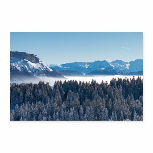 Montagnes enneigées depuis le Mont Revard - Poster 90 x 60 cm