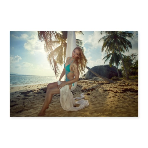 Girl in bikini on an abondon tropical beach. - Poster 90x60 cm