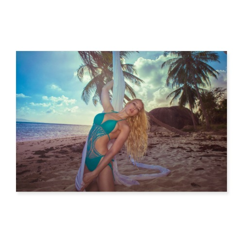 Girl with silk in the sand on an abandon island - Poster 90x60 cm