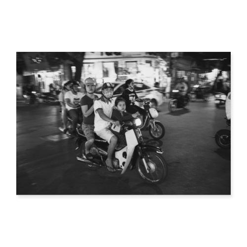 VIETNAM Famille en scooter - Poster 90 x 60 cm