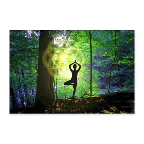 Yoga im Wald mit Baumyogi und Saat des Lebens - Poster 90x60 cm
