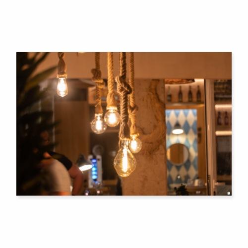 Hängende Glühbirnen - Poster 90x60 cm