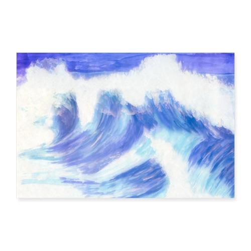 Wellen | Solveig Klaus | Urlaub surfen segeln kite - Poster 90x60 cm