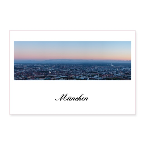 Panorama Foto Dämmerung München am Abend - Poster 90x60 cm