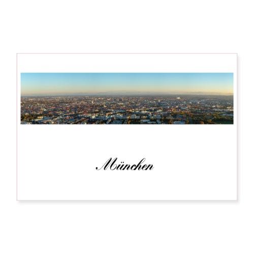 München Panorama am Abend mit Alpen - Poster 90x60 cm