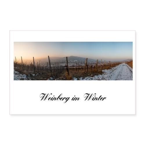 Landschaftsfoto Weinberg Dämmerung Morgen Winter - Poster 90x60 cm