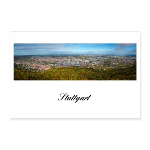 Panorama der Stadt Stuttgart Württemberg - Poster 90x60 cm