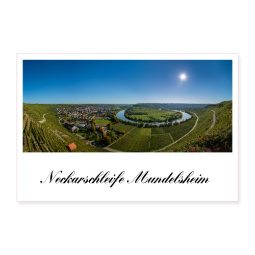 Neckarfschleife Neckar Mundelsheim Weinberg - Poster 90x60 cm