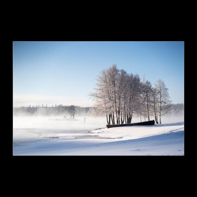 Riihisaari talviaamuna