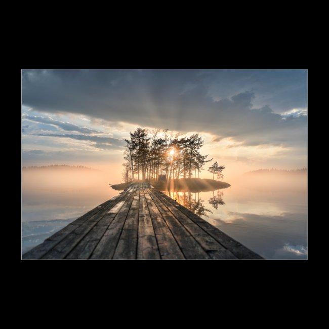 Usvainen auringonlasku Saimaalla