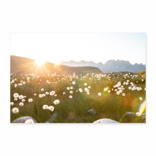 Coucher du soleil dans les Alpes - Poster 90 x 60 cm