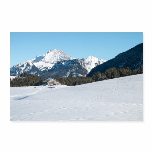 Paysage hivernal des Glières - Poster 90 x 60 cm