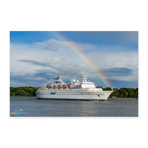 SuK Bild - MS Delphin auf der Elbe mit Regenbogen - Poster 90x60 cm