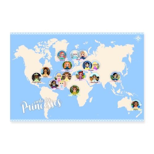 Carte des princesses - Poster 90 x 60 cm