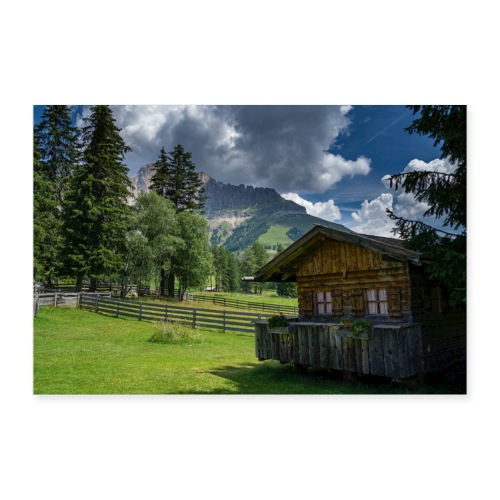 Karersee Siedlung mit Rosengarten - Poster 90x60 cm