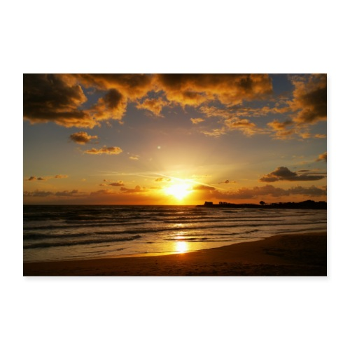 Sonnenuntergang Sizilien Urlaub Strand Meer Wolken - Poster 90x60 cm