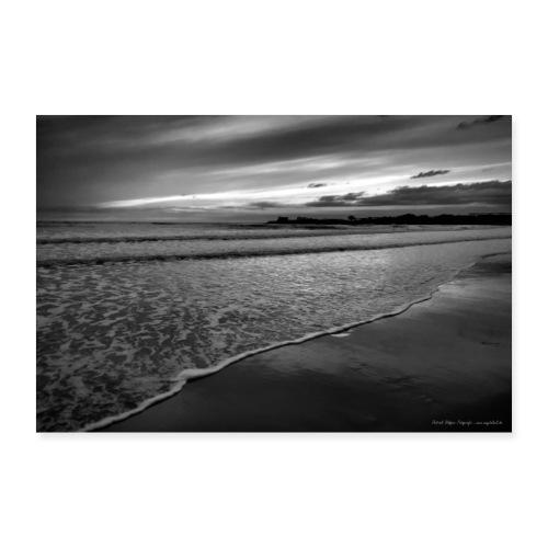 Abendstimmung Strand Meer Sizilien Schwarz Weiß - Poster 90x60 cm