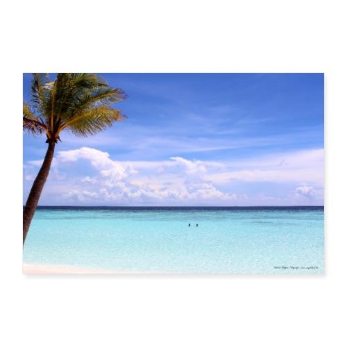 Traumhafte Malediven Strand Palme Meer Wolken Blau - Poster 90x60 cm