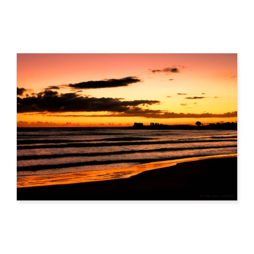 Abendrot Strand Meer Sizilien Natur Beach - Poster 90x60 cm