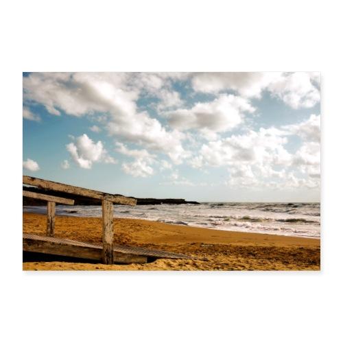 Steg Strand Sizilien Wolken Himmel Mittelmeer - Poster 90x60 cm