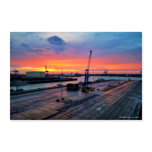 Abendliche Hafenidylle nach Sonnenuntergang Poster - Poster 90x60 cm