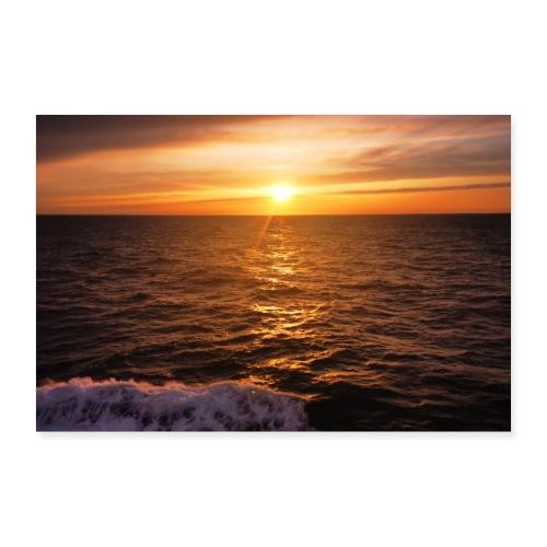 Sonnenuntergang Mittelmeer Welle Meer Sonne Poster - Poster 90x60 cm