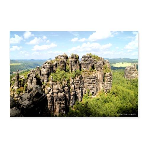 Elbsandsteingebirge Sächsische Schweiz Aussicht - Poster 90x60 cm