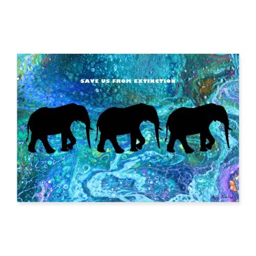 Afrika-Elefanten I Pouring I Schattenriß - Poster 90x60 cm