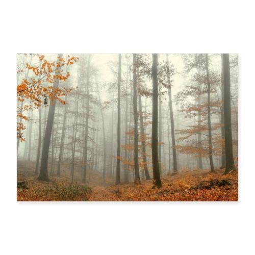 Poster mystischer Wald im Nebel Herbst Thüringen - Poster 90x60 cm
