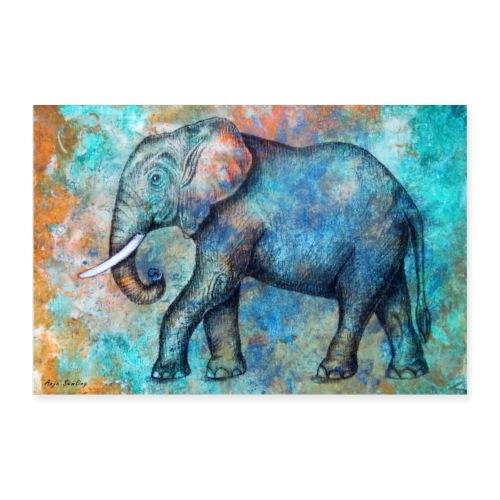 POSTER: Afrikanischer Elefant (Kunstwerk) - Poster 90x60 cm