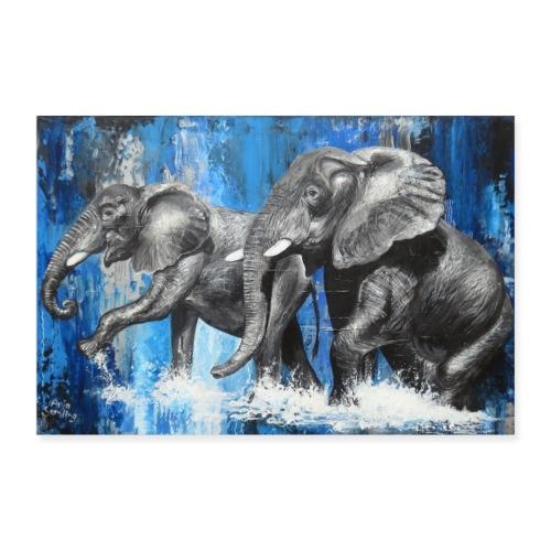 Zwei Tusker im Wasser I ELefanten - Poster 90x60 cm