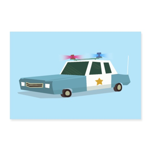 Funky Police Car Poster - Poster 12 x 8 (30x20 cm)