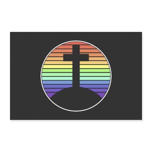 Jesus Kreuz Regenbogen Poster Wandbild - Poster 30x20 cm