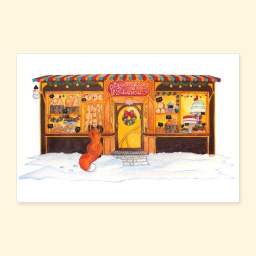 Boulangerie-Pâtisserie de Noël : Renard gourmand - Poster 30 x 20 cm