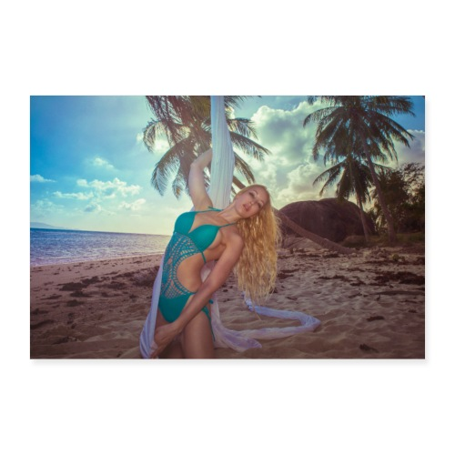 Girl with silk in the sand on an abandon island - Poster 30x20 cm