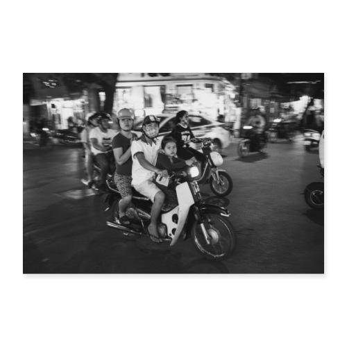 VIETNAM Famille en scooter - Poster 30 x 20 cm