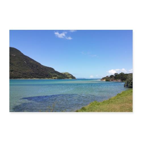 Türkis-blaues Meer mit blauem Himmel - Neuseeland - Poster 30x20 cm