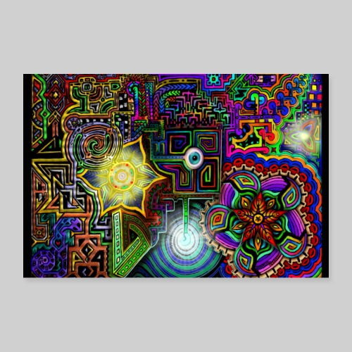 Univers psychédélique poster - Poster 30 x 20 cm