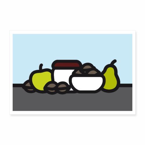 Stilleben mit Apfel Birne und Nüssen - Poster 30x20 cm