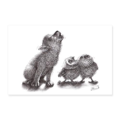 Wolf und Eulen - Poster 30x20 cm