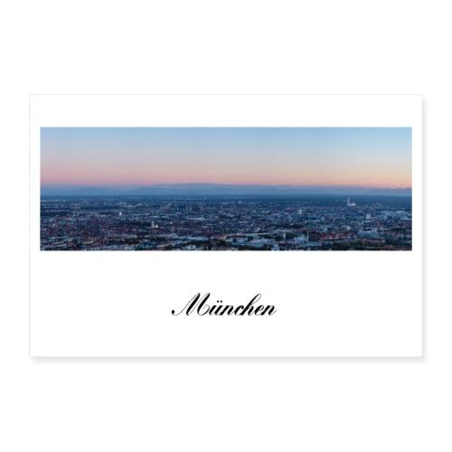 Panorama Foto Dämmerung München am Abend - Poster 30x20 cm