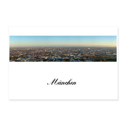 München Panorama am Abend mit Alpen - Poster 30x20 cm