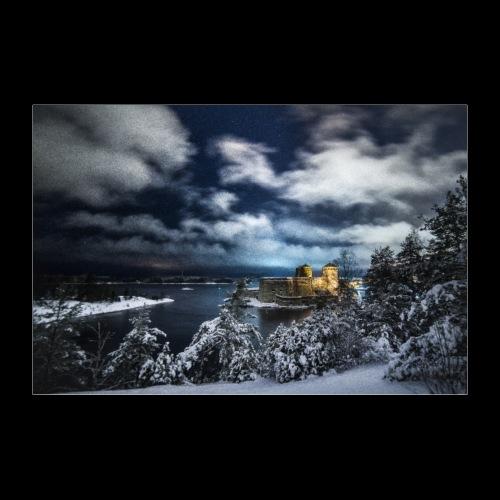 Myrskyinen Olavinlinna talvella - Juliste 30x20 cm