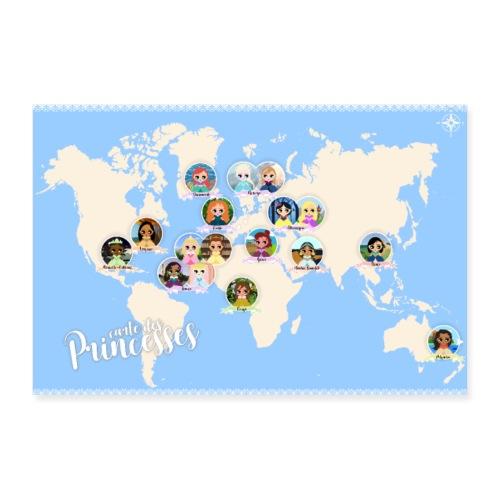 Carte des princesses - Poster 30 x 20 cm