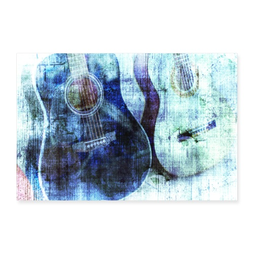 GUITARS ABSTRACT BLUE - Poster 30x20 cm