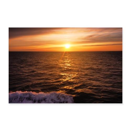 Sonnenuntergang Mittelmeer Welle Meer Sonne Poster - Poster 30x20 cm