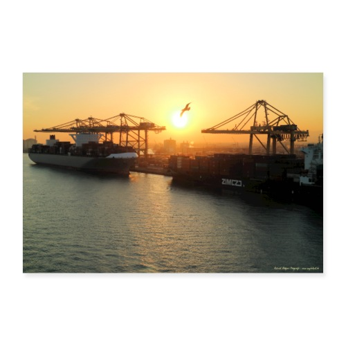 Sonnenuntergang Hafen Barcelona Hafenidylle Meer - Poster 30x20 cm