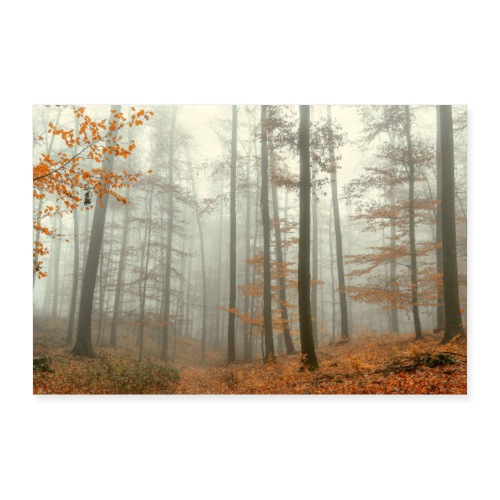 Poster mystischer Wald im Nebel Herbst Thüringen - Poster 30x20 cm