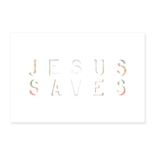 Jesus Saves Poster Wandbild - Poster 60x40 cm