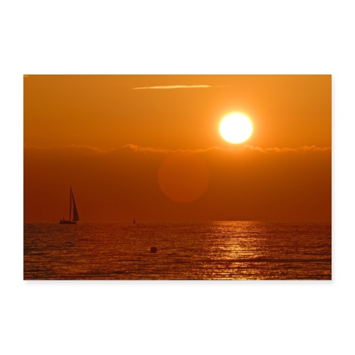 Segelboot im Sonnenuntergang - Poster 60x40 cm